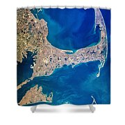 Cape Cod And Islands Spring 1997 View From Satellite Shower Curtain