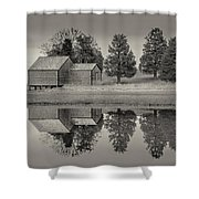 Cape Cod Reflections Black And White Photography Shower Curtain