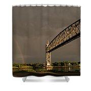 Cape Cod Train Bridge With Rainbow Shower Curtain