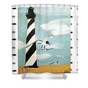 Cape Hatteras Lighthouse - Fish Border Shower Curtain