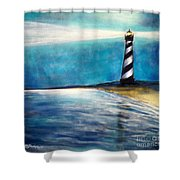 Cape Hatteras Lighthouse Night Glow Shower Curtain