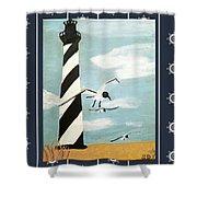 Cape Hatteras Lighthouse - Ship Wheel Border Shower Curtain