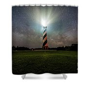 Cape Hatters Light House Stars Shower Curtain