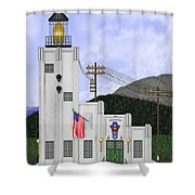 Cape Hinchinbrook Lighthouse In Alaska Shower Curtain by Anne Norskog