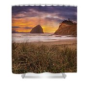 Cape Kiwanda In Pacific City Beach At Sunset Shower Curtain