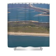 Cape Lookout Lighthouse Distance Shower Curtain