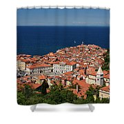 Cape Madonna At Point Of Piran Slovenia On Blue Adriatic Sea Wit Shower Curtain