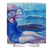 Cape May 1920s Girl Shower Curtain
