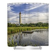 Cape May Lighthouse From The Pond Shower Curtain