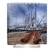 Cape May Scallop Fishing Boat Shower Curtain