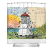 Cape Mendocino Lighthouse Ca Nautical Chart Map Shower Curtain