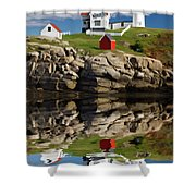 Cape Neddick Reflection - D003756a Shower Curtain by Daniel Dempster
