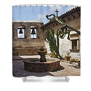 Capistrano Mission Courtyard Shower Curtain