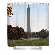 Capital Autumns - The Washington Monument - Under The Trees Shower Curtain
