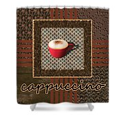 Cappuccino - Coffee Art - Red Shower Curtain