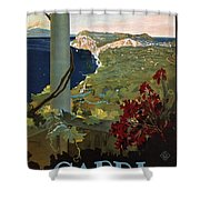 Capri, Italia - Bay Of Naples, Italy - Retro Travel Poster - Vintage Poster Shower Curtain