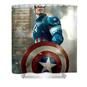 Captain America With Helmet Shower Curtain