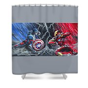 Captain American Vs Ironman Shower Curtain