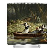 Capture Of The Daughters Of Daniel Boone And Richard Callaway By The Indians Shower Curtain
