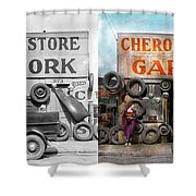 Car - Garage - Cherokee Parts Store - 1936 - Side By Side Shower Curtain