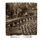 Car On A Wooden Railroad Trestle Circa 1916 Shower Curtain