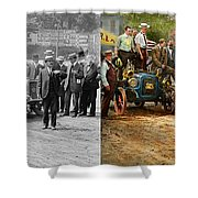 Car - Race - The End Of A Long Journey 1906 - Side By Side Shower Curtain