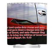 Car Reflection With Text 4 Shower Curtain