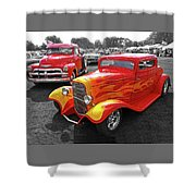 Car Show Fever - 54 Chevy With A 32 Ford Coupe Hot Rod Shower Curtain