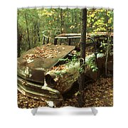 Car Wreck In The Forest Shower Curtain