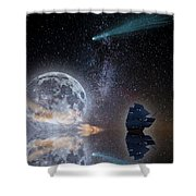 Caravel And Comet Shower Curtain
