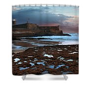 Fort In Carcavelos Beach Shower Curtain