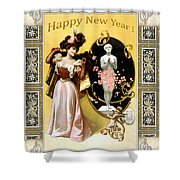 Card New Year Wishes Shower Curtain