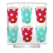 Card With Red And Blue Paper Disposable Glass In Polka Dot Isolated On White With Copy Space Shower Curtain