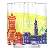 Cardiff Skyline Pop Shower Curtain