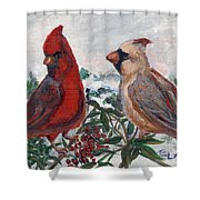 Cardinal Berries Shower Curtain