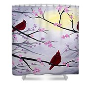 Cardinal Blossoms Shower Curtain
