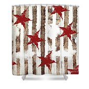 Cardinal Holiday Burlap Star Pattern Shower Curtain