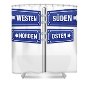 Cardinal Points Signpost German Shower Curtain