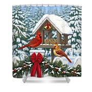 Cardinals Christmas Feast Shower Curtain by Crista Forest