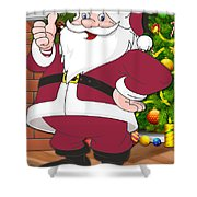 Cardinals Santa Claus Shower Curtain
