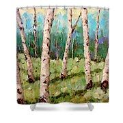Carefree Birches Shower Curtain
