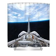 Cargo Bay Of Atlantis On Sts-132 Shower Curtain by Artistic Panda