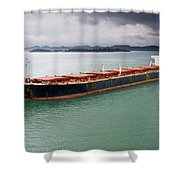 Cargo Ship Under Stormy Sky Shower Curtain