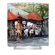 Caribbean Bar-theatre Barbados Style Shower Curtain