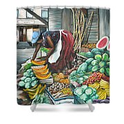 Caribbean Market Day Shower Curtain