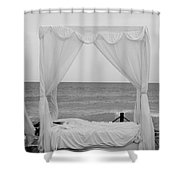 Caribbean Relaxation Bed Single Vertical - Height For Triptych Black And White Shower Curtain
