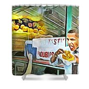 Caribbean Scenes - Obama Eats Doubles In Trinidad Shower Curtain