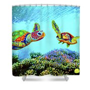 Caribbean Sea Turtle And Reef Fish Shower Curtain