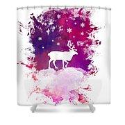 Caribou Winter Art Shower Curtain