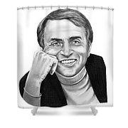 Carl Sagan Shower Curtain by Murphy Elliott